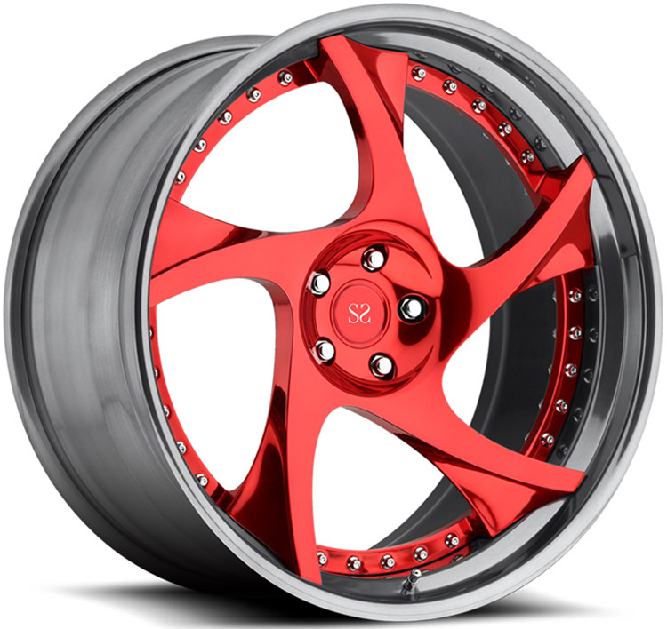 20 inch customized red spoke 2 piece forged car wheel rim china