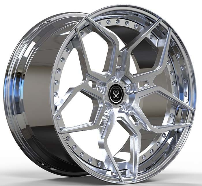 Hyper Silver Polish 2 Piece Staggered Alloy Wheels For Porsche